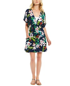 Lauren Ralph Lauren Watercolor Tropical Printed Cover-Up Tunic