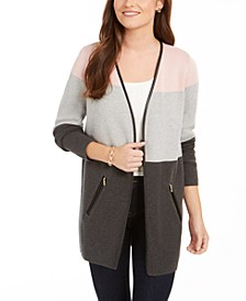 Petite Milano Colorblocked Cotton Completer Sweater, Created for Macy's