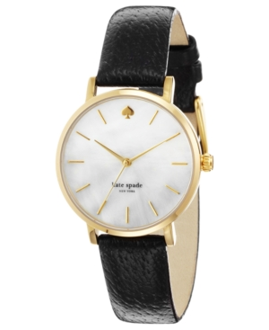 kate spade new york Watch, Women's Metro Black Leather Strap 34mm 1YRU0010