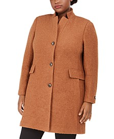 Plus Size Stand-Collar Coat, Created for Macy's