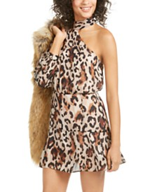 Rachel Zoe Fergie Animal-Print One-Shoulder Dress