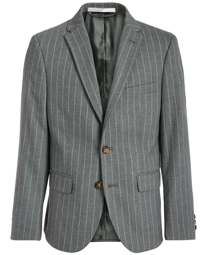 Lauren Ralph Lauren - Big Boys Classic-Fit Stretch Gray Stripe Suit Jacket