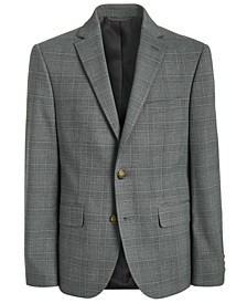 폴로 랄프로렌 보이즈 자켓 Lauren Ralph Lauren Big Boys Classic-Fit Stretch Light Gray Plaid Suit Jacket,Light pastel Grey