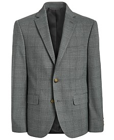 Lauren Ralph Lauren Big Boys Classic-Fit Stretch Light Gray Plaid Suit Jacket
