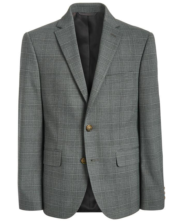 Lauren Ralph Lauren - Big Boys Classic-Fit Stretch Light Gray Plaid Suit Jacket