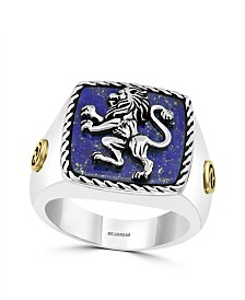 EFFY® Men's Lapis Lazuli (15.5 x15mm) Ring In Sterling Silver and 18k Yellow Gold