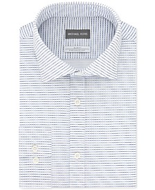Michael Kors Men's Slim-Fit Non-Iron Moisture-Wicking Blue Check Knit Dress Shirt