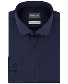 Men's Slim-Fit Non-Iron Moisture-Wicking Blue Diamond-Knit Dress Shirt