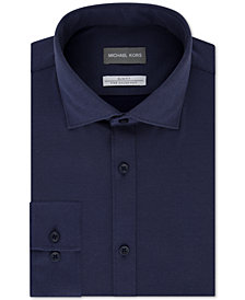 Michael Kors Men's Slim-Fit Non-Iron Moisture-Wicking Blue Diamond-Knit Dress Shirt