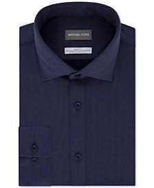 Michael Kors Men's Slim-Fit Non-Iron Moisture-Wicking Blue Diamond-Knit Dress Shirt
