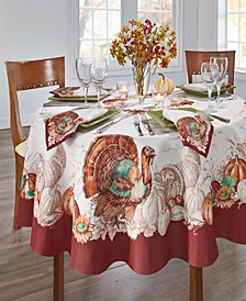 "Holiday Turkey Bordered Fall Tablecloth, 70"" Round"