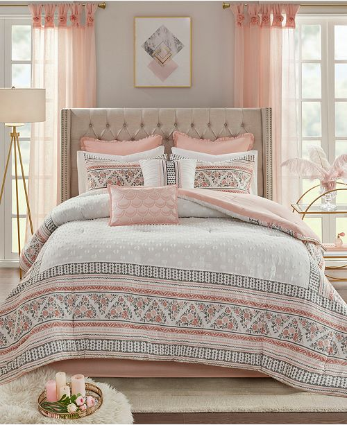 Madison Park Moria Queen 8-Pc. Cotton Printed Clip Jacquard Comforter Set