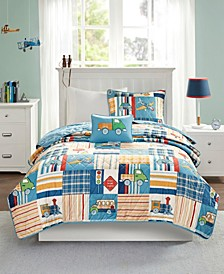 Choo Choo Charlie Full/Queen 4-Pc. Reversible Coverlet Set