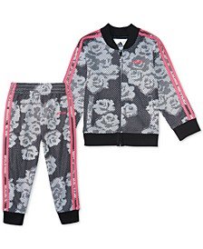 Little Girls 2-Pc. Printed Tricot Jacket & Pants Set