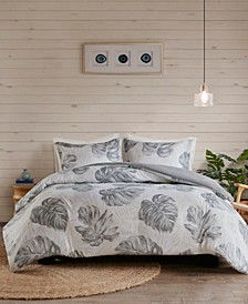 Amoria Full/Queen 3-Pc. Printed Seersucker Palm Duvet Cover Set