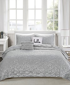 Intelligent Design Zoey 4 Piece Twin/Twin XL Metallic Printed Coverlet Set