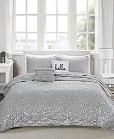 Zoey 5 Piece Full/Queen Metallic Printed Coverlet Set