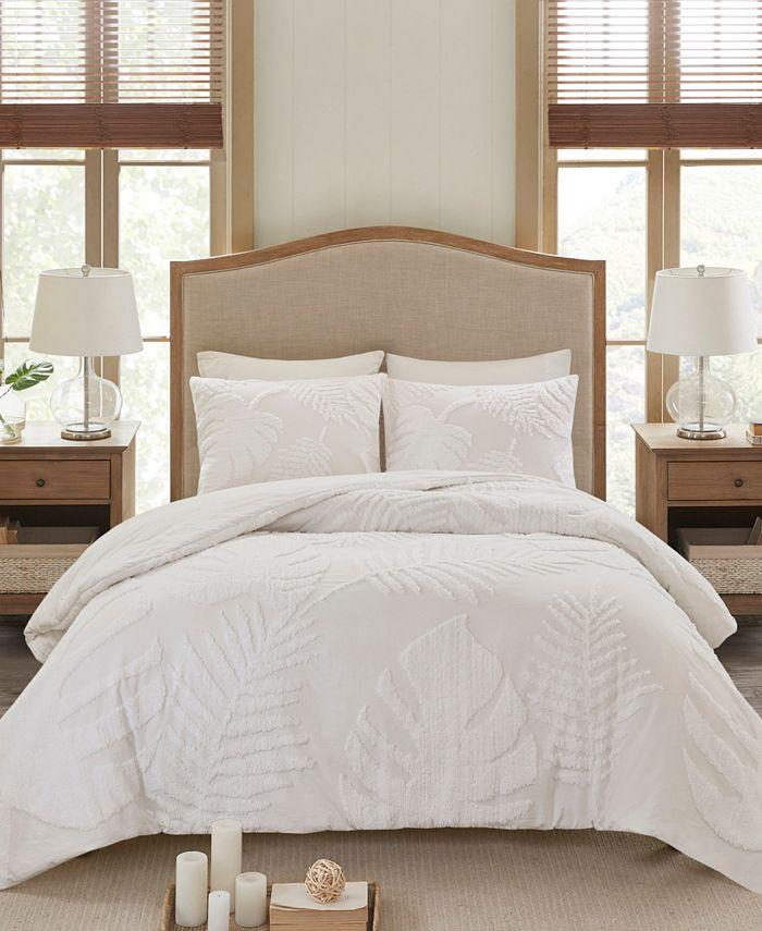 Madison Park - Bahari Tufted Cotton Chenille Palm Comforter Set