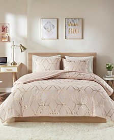Ainsley Twin/Twin XL 2-Pc. Metallic Print Reversible Comforter Set