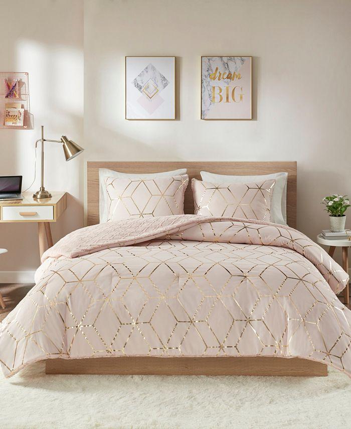 Intelligent Design - Ainsley Metallic Print Reversible Comforter Set