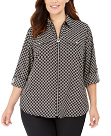 Michael Michael Kors Plus Size Zippered Printed Blouse