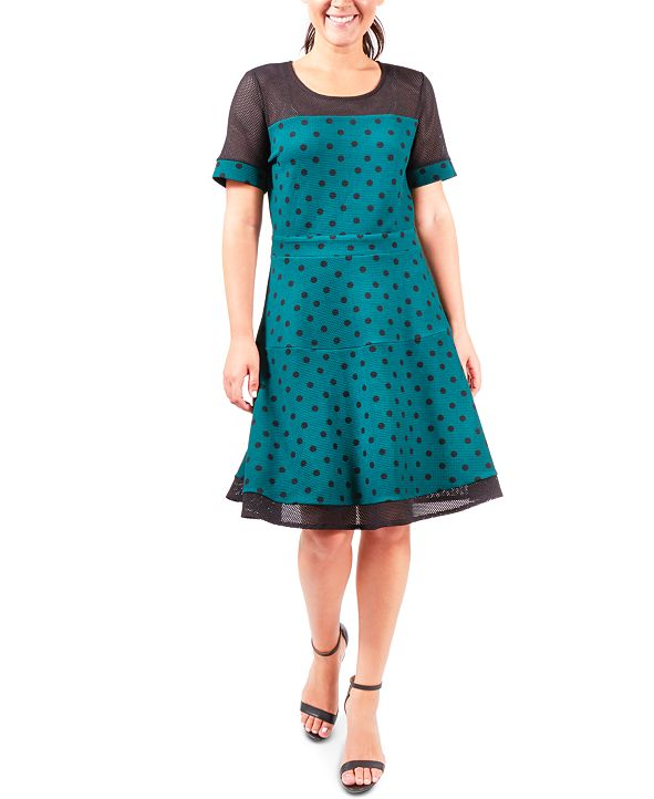 NY Collection Fit & Flare Dot-Print Dress