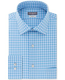 Men's Classic/Regular-Fit Performance Stretch Wrinkle-Free Flex Collar Check Dress Shirt