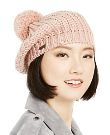 Lurex-Knit Beret with Pom