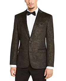 Bar III Men's Slim-Fit Black/Gold Paisley Velvet Sport Coat, Created for Macy's