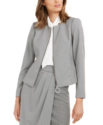 Houndstooth Zip-Up Jacket