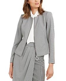 Calvin Klein Houndstooth Zip-Up Jacket