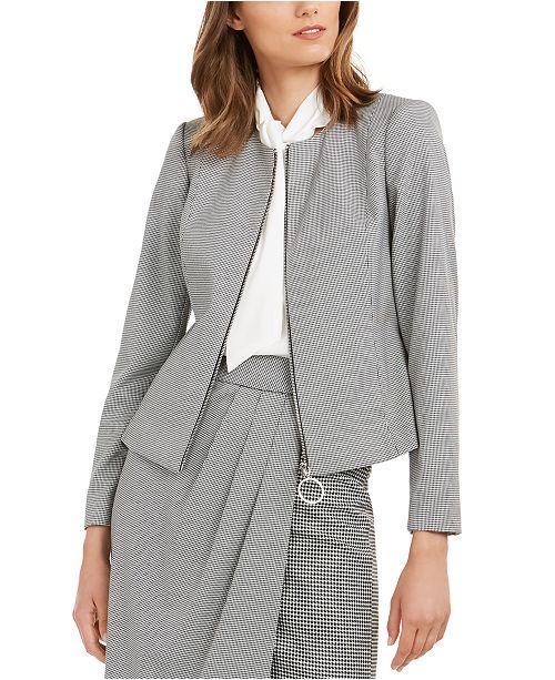 Calvin Klein Petite Zippered Printed Jacket