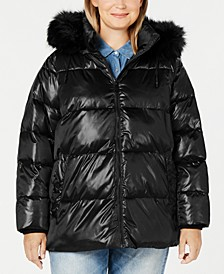 Plus Size High-Shine Faux-Fur-Trim Hooded Puffer Coat