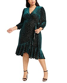Plus Size Burnout Velvet Wrap Dress