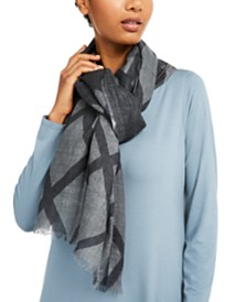 Eileen Fisher Wool Fringe-Trim Wrap Scarf