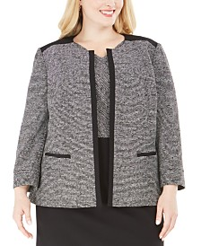 Kasper Plus Size Tweed Open-Front Blazer