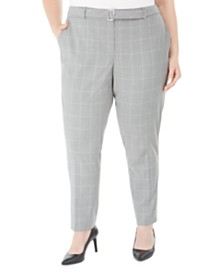 Calvin Klein Plus Size Printed Belted Pants