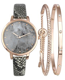 INC Gray Snake-Embossed Faux-Leather Strap Watch 38mm & Matching Bracelets Set, Created for Macy's