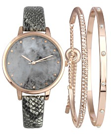I.N.C. Gray Snake-Embossed Faux-Leather Strap Watch 38mm & Matching Bracelets Set, Created for Macy's