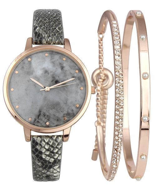 INC International Concepts I.N.C. Gray Snake-Embossed Faux-Leather Strap Watch 38mm & Matching Bracelets Set, Created for Macy's