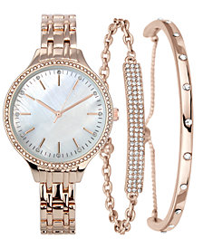INC Women's Gold-Tone or Rose Gold-Tone Bracelet Watch Set 36mm, Created for Macy's