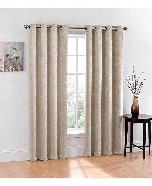 "Regal Home Chevron Blackout 2-Pack Grommet Curtain, 84"" x 76"""