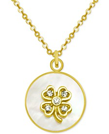 """PIXIE POSEY Gold-Tone Crystal Clover Mother-of-Pearl 18"""" Pendant Necklace"""