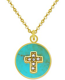 """PIXIE POSEY Gold-Tone Crystal Cross 18"""" Pendant Necklace"""
