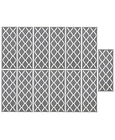 "Glamour Collection Trellis Design Stair Tread Set of 13, 8.5"" x 26"""
