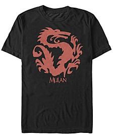 Disney Men's Mulan Mushu Outline Logo Short Sleeve T-Shirt