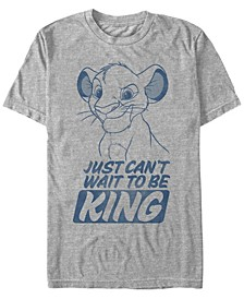Disney Men's The Young Simba Can't Wait To Be King Short Sleeve T-Shirt
