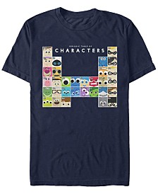 Disney Pixar Men's Movie Characters Periodic Table Short Sleeve T-Shirt