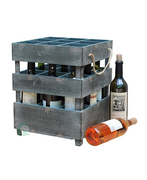Vintiquewise Antique Style Stackable Wooden Wine Crates