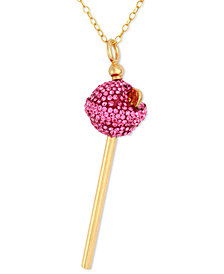 SIS by Simone I Smith 18k Gold over Sterling Silver Necklace, Pink Crystal Mini Lollipop Pendant